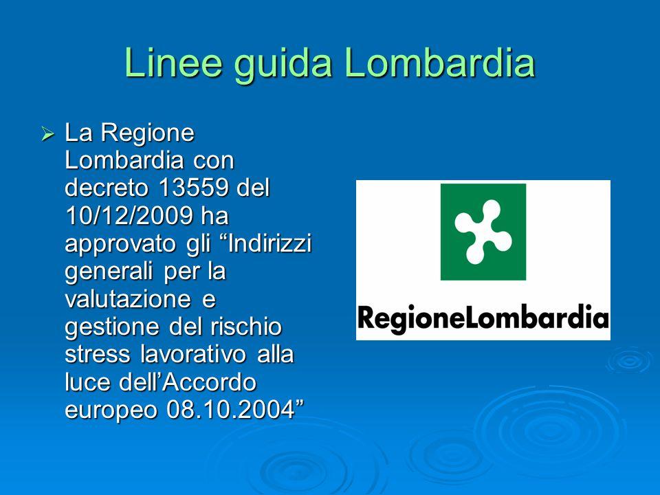 Linee guida Lombardia  La Regione Lombardia con decreto 13559 del 10/12/2009 ha approvato gli Indirizzi generali per la valutazione e gestione del rischio stress lavorativo alla luce dell'Accordo europeo 08.10.2004