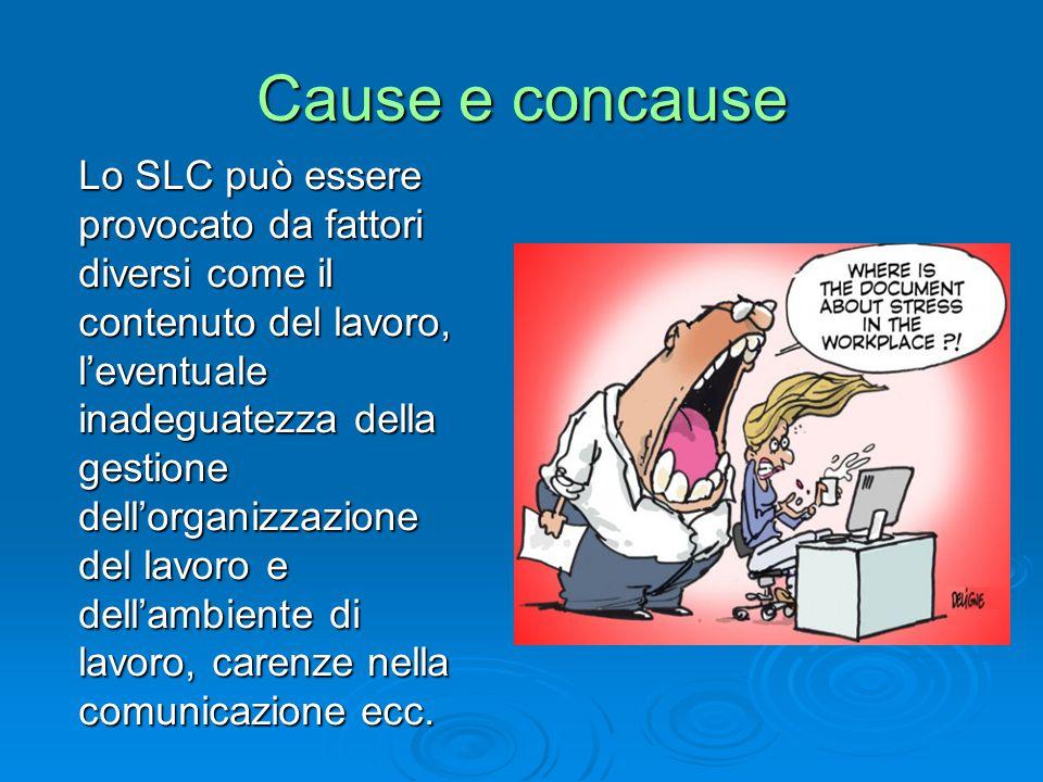 Cause e concause Lo SLC può essere provocato da fattori diversi come il contenuto del lavoro, l'eventuale inadeguatezza della gestione dell'organizzazione del lavoro e dell'ambiente di lavoro, carenze nella comunicazione ecc.