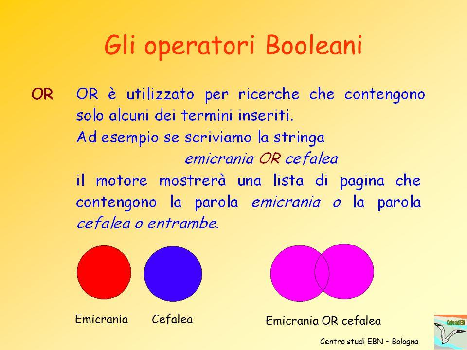 Centro studi EBN - Bologna Gli operatori Booleani Emicrania Cefalea Emicrania OR cefalea