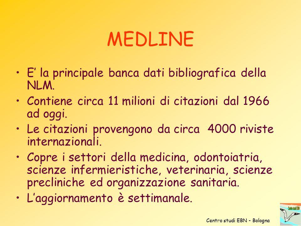 MEDLINE E' la principale banca dati bibliografica della NLM. Contiene circa 11 milioni di citazioni dal 1966 ad oggi. Le citazioni provengono da circa