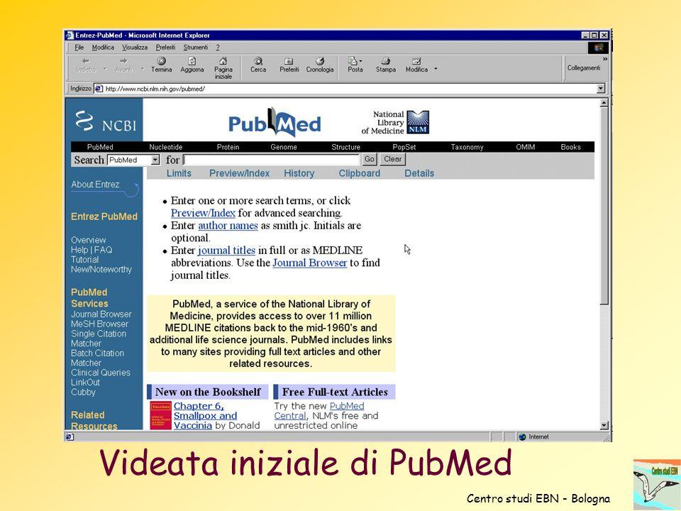 Videata iniziale di PubMed Centro studi EBN - Bologna