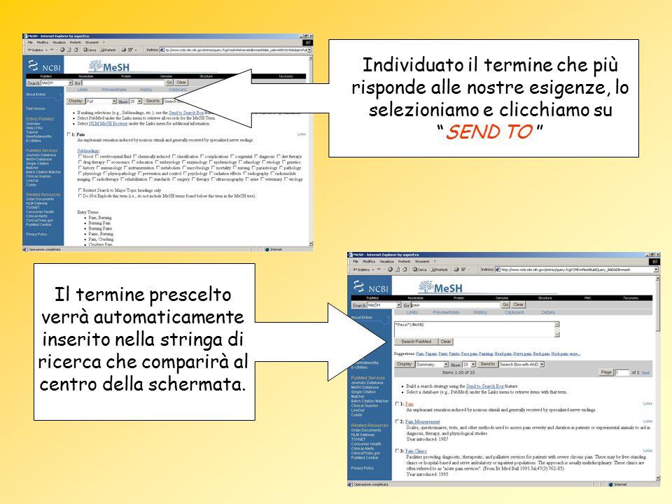 Il termine prescelto verrà automaticamente inserito nella stringa di ricerca che comparirà al centro della schermata. Individuato il termine che più r