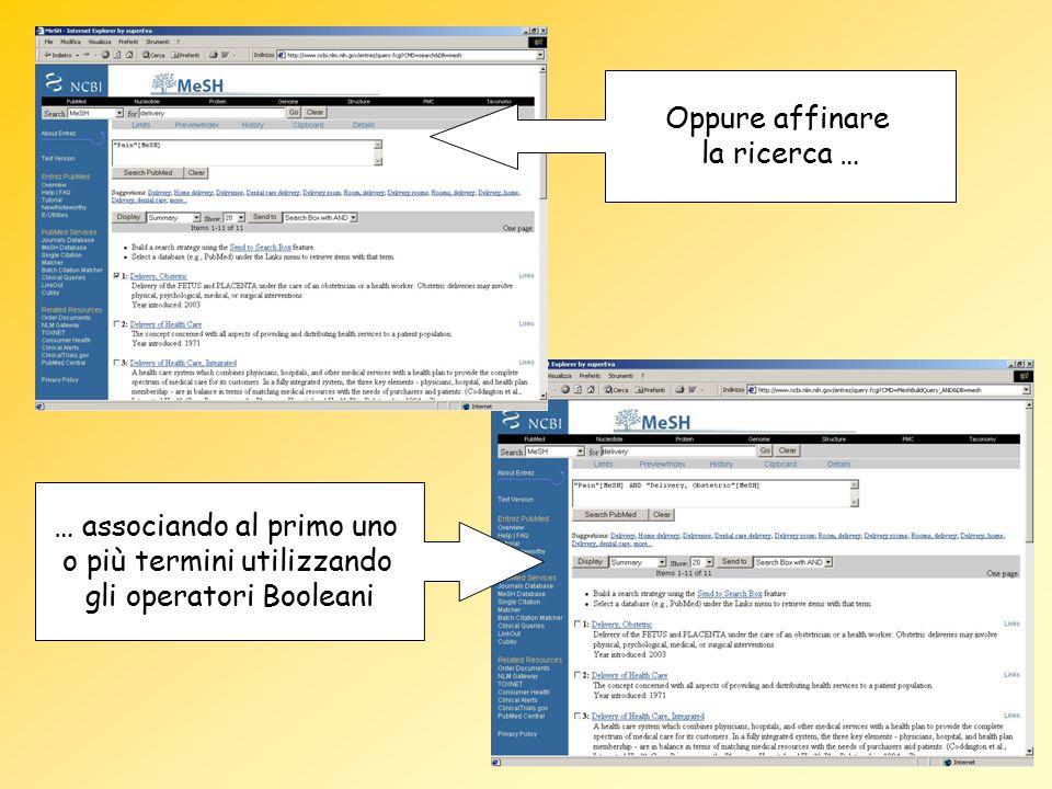 Oppure affinare la ricerca … … associando al primo uno o più termini utilizzando gli operatori Booleani