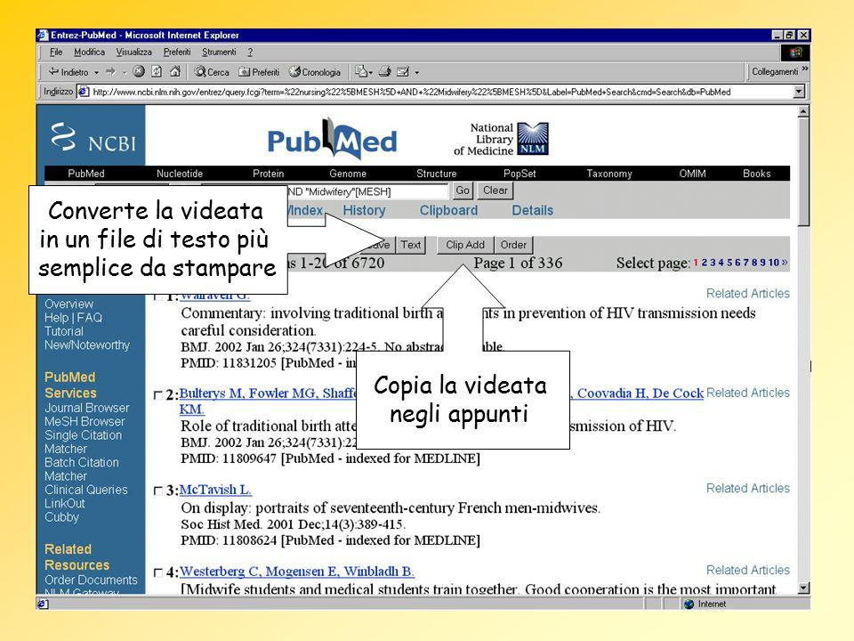 Converte la videata in un file di testo più semplice da stampare Copia la videata negli appunti