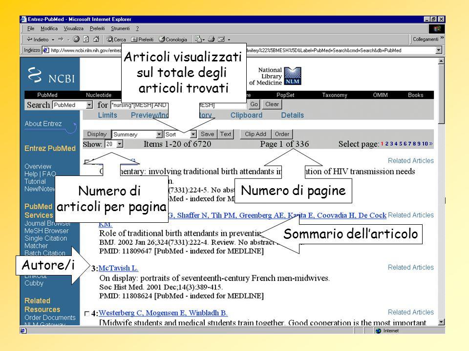 Autore/i Sommario dell'articolo Articoli visualizzati sul totale degli articoli trovati Numero di articoli per pagina Numero di pagine