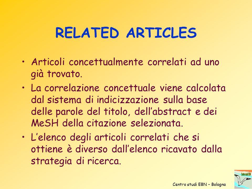 RELATED ARTICLES Articoli concettualmente correlati ad uno già trovato. La correlazione concettuale viene calcolata dal sistema di indicizzazione sull