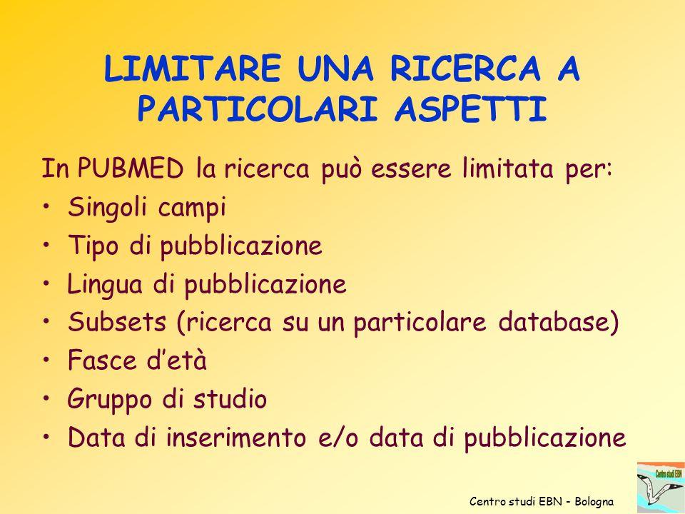 LIMITARE UNA RICERCA A PARTICOLARI ASPETTI In PUBMED la ricerca può essere limitata per: Singoli campi Tipo di pubblicazione Lingua di pubblicazione S