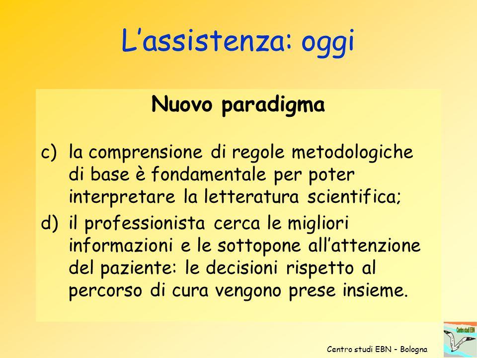 Nuovo paradigma c)la comprensione di regole metodologiche di base è fondamentale per poter interpretare la letteratura scientifica; d)il professionist