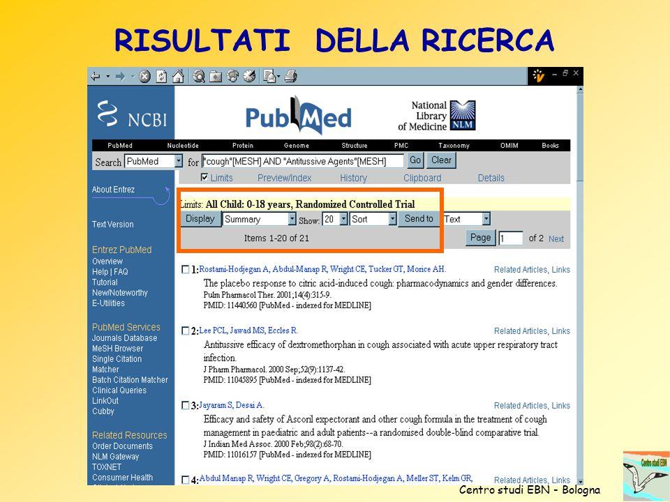 RISULTATI DELLA RICERCA Centro studi EBN - Bologna