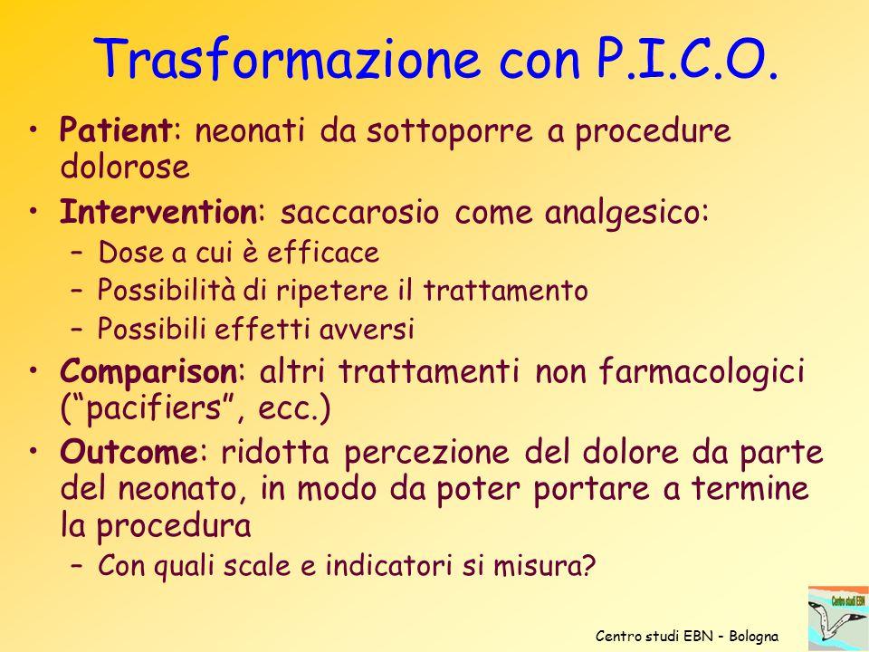 Trasformazione con P.I.C.O. Patient: neonati da sottoporre a procedure dolorose Intervention: saccarosio come analgesico: –Dose a cui è efficace –Poss