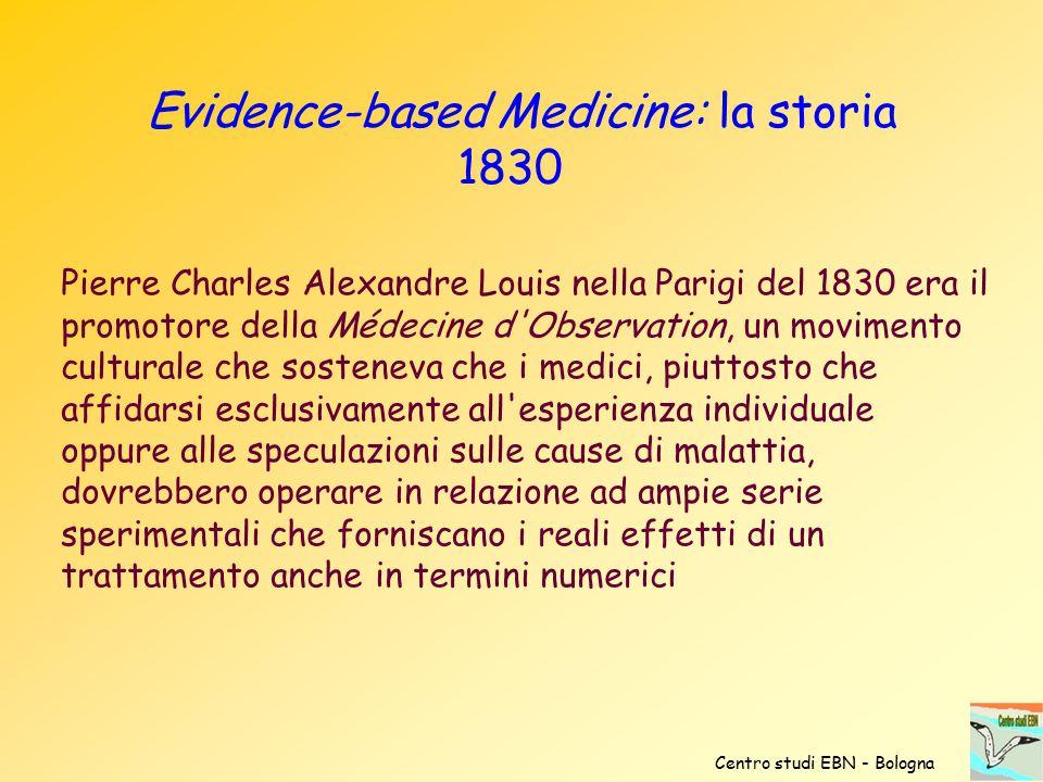 Evidence-based Medicine: la storia 1830 Pierre Charles Alexandre Louis nella Parigi del 1830 era il promotore della Médecine d'Observation, un movimen
