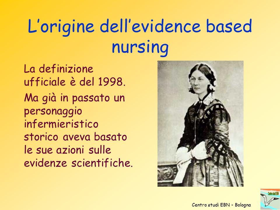 L'origine dell'evidence based nursing La definizione ufficiale è del 1998. Ma già in passato un personaggio infermieristico storico aveva basato le su