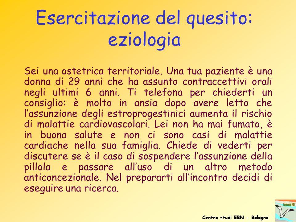 Esercitazione del quesito: eziologia Sei una ostetrica territoriale. Una tua paziente è una donna di 29 anni che ha assunto contraccettivi orali negli