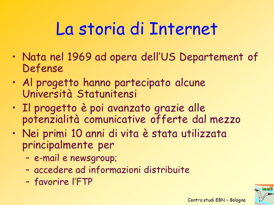 La storia di Internet Nata nel 1969 ad opera dell'US Departement of Defense Al progetto hanno partecipato alcune Università Statunitensi Il progetto è