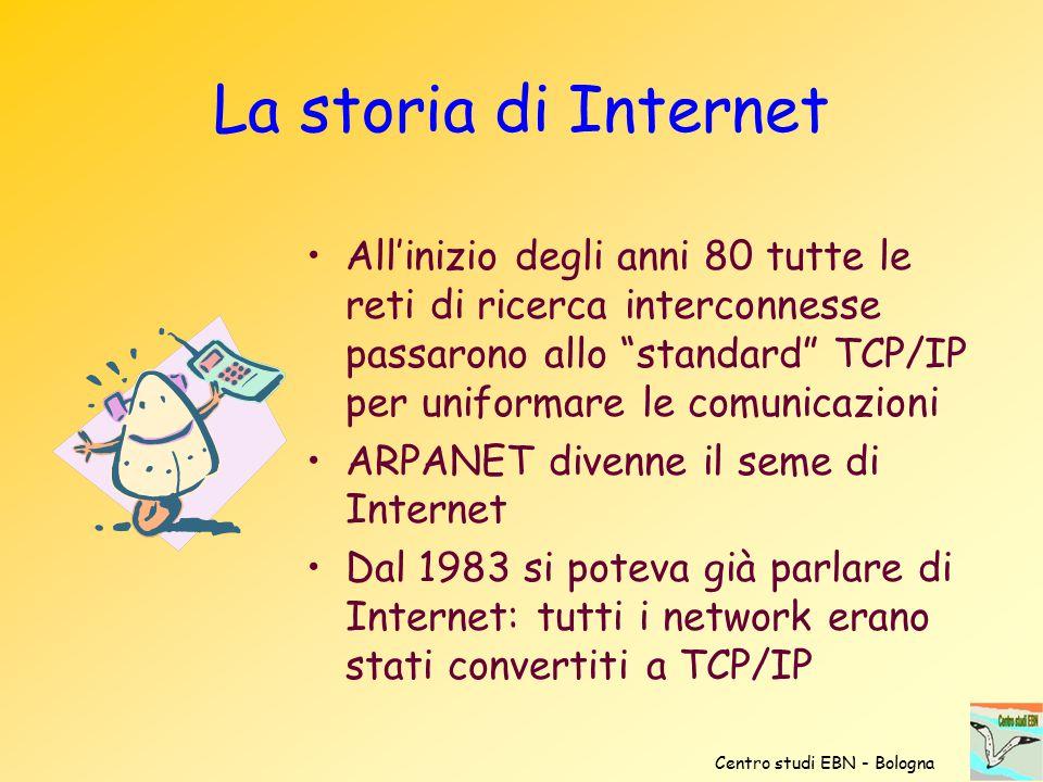 """All'inizio degli anni 80 tutte le reti di ricerca interconnesse passarono allo """"standard"""" TCP/IP per uniformare le comunicazioni ARPANET divenne il se"""