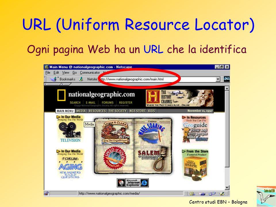 URL (Uniform Resource Locator) Ogni pagina Web ha un URL che la identifica Centro studi EBN - Bologna