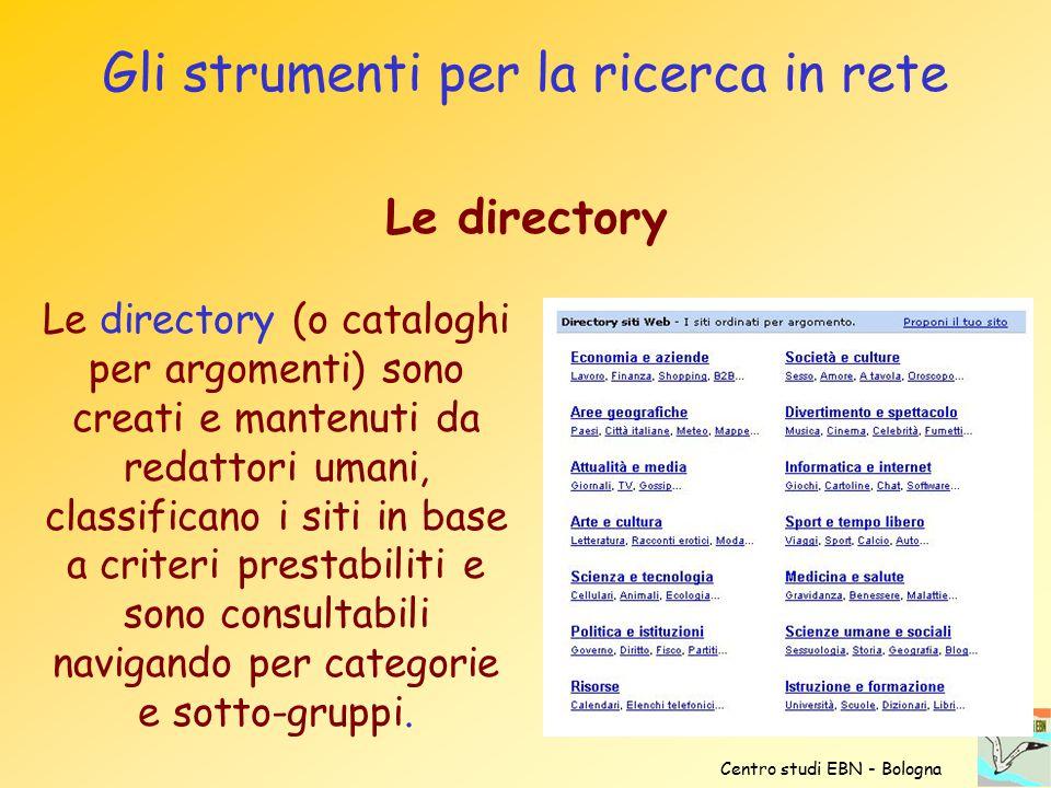 Gli strumenti per la ricerca in rete Le directory (o cataloghi per argomenti) sono creati e mantenuti da redattori umani, classificano i siti in base