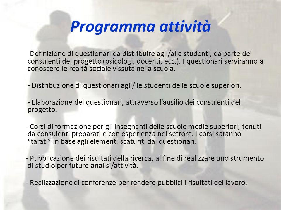 Programma attività - Definizione di questionari da distribuire agli/alle studenti, da parte dei consulenti del progetto (psicologi, docenti, ecc.).