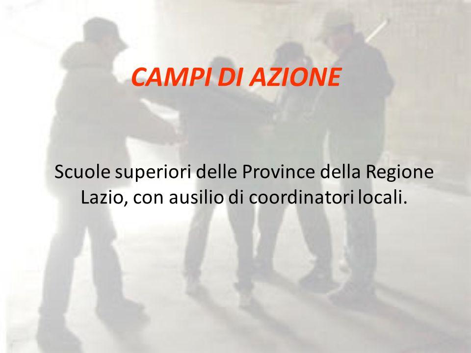 CAMPI DI AZIONE Scuole superiori delle Province della Regione Lazio, con ausilio di coordinatori locali.