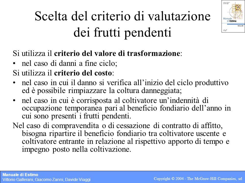 Manuale di Estimo Vittorio Gallerani, Giacomo Zanni, Davide Viaggi Copyright © 2004 - The McGraw-Hill Companies, srl Scelta del criterio di valutazion