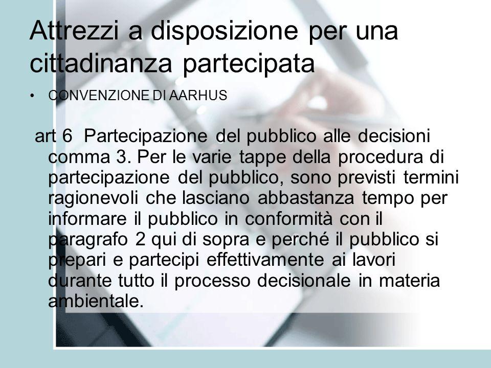 Attrezzi a disposizione per una cittadinanza partecipata CONVENZIONE DI AARHUS art 6 Partecipazione del pubblico alle decisioni comma 3.