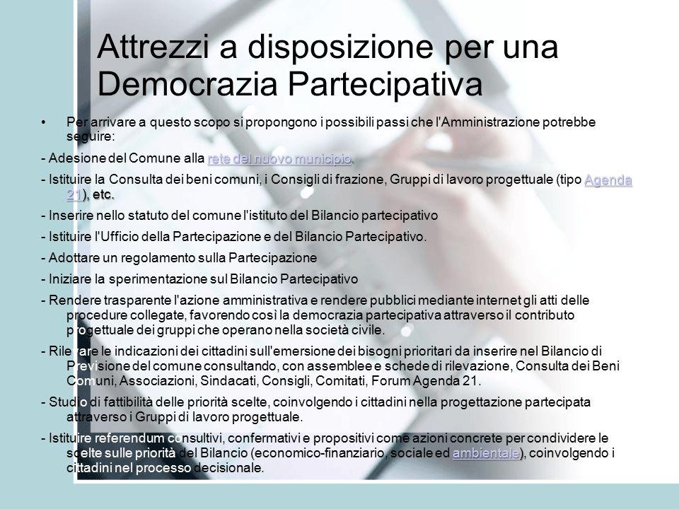 Attrezzi a disposizione per una Democrazia Partecipativa Per arrivare a questo scopo si propongono i possibili passi che l Amministrazione potrebbe seguire: rete del nuovo municipiorete del nuovo municipio.