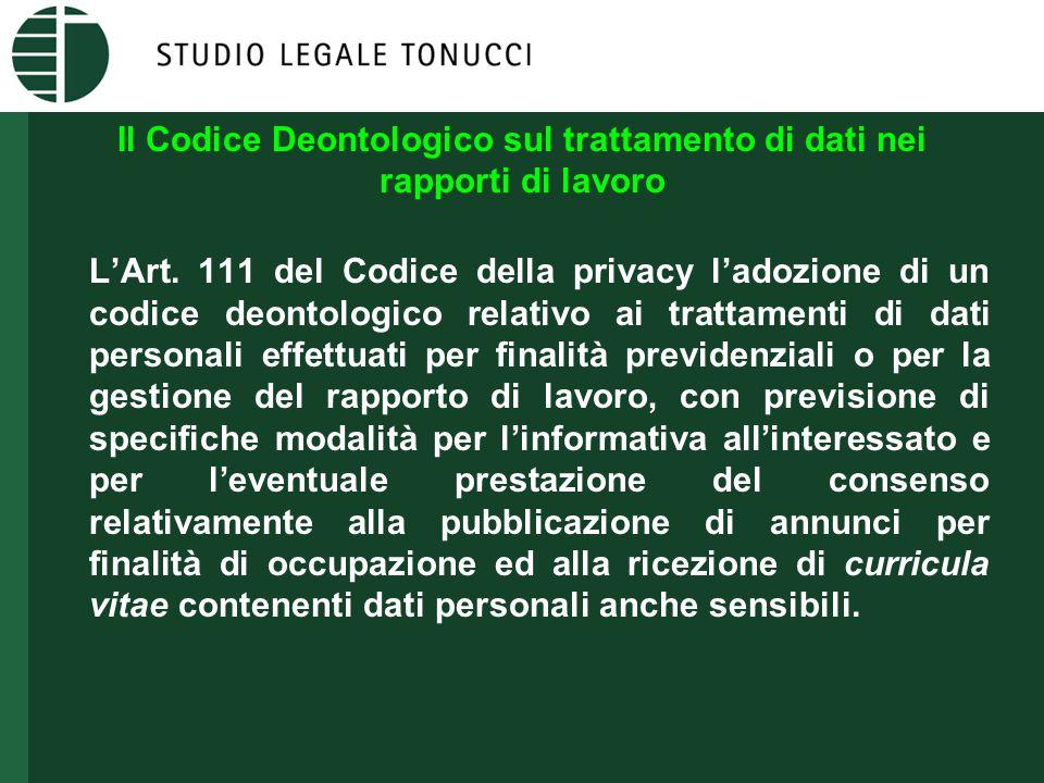 Il Codice Deontologico sul trattamento di dati nei rapporti di lavoro L'Art.