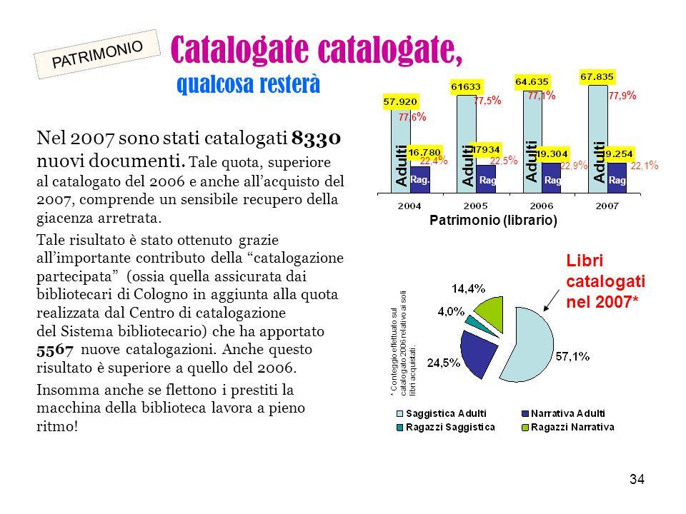 34 Nel 2007 sono stati catalogati 8330 nuovi documenti. Tale quota, superiore al catalogato del 2006 e anche all'acquisto del 2007, comprende un sensi