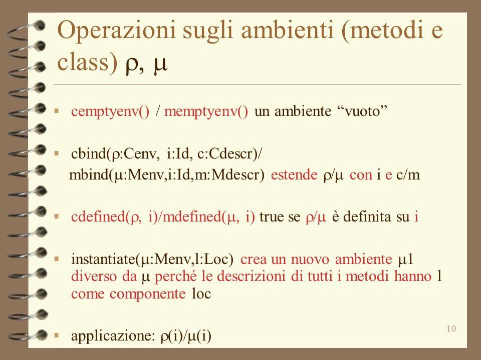 """10 Operazioni sugli ambienti (metodi e class)   cemptyenv() / memptyenv() un ambiente """"vuoto""""  cbind(  :Cenv, i:Id, c:Cdescr)/ mbind(  :Menv,i"""