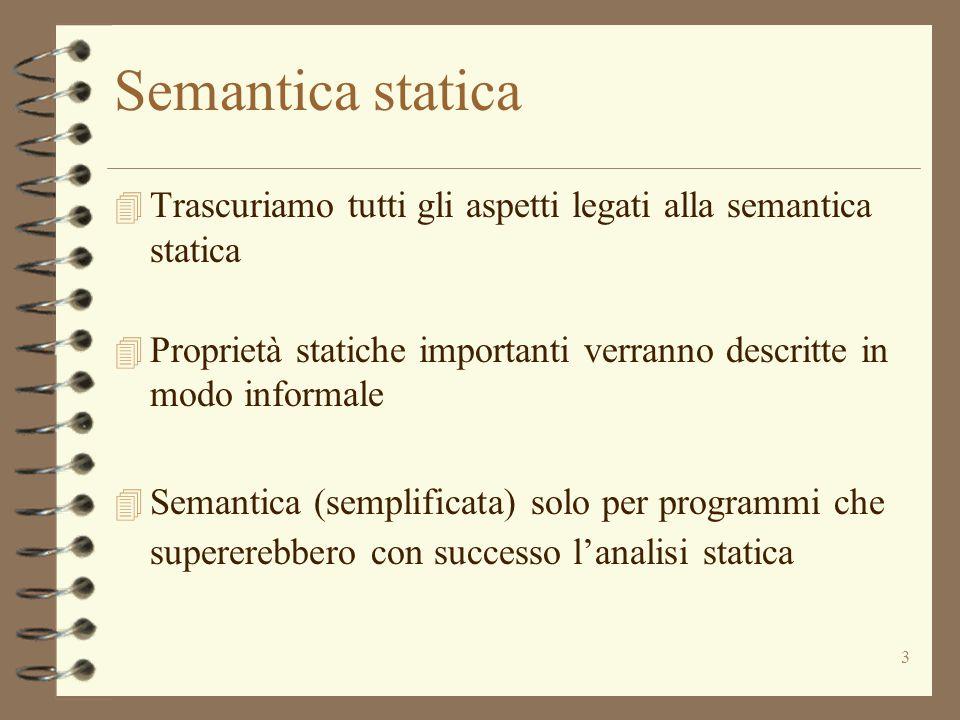 3 Semantica statica 4 Trascuriamo tutti gli aspetti legati alla semantica statica 4 Proprietà statiche importanti verranno descritte in modo informale