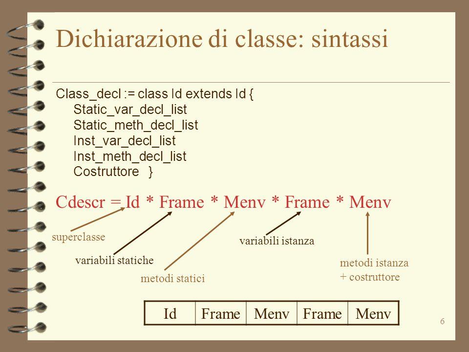 6 Dichiarazione di classe: sintassi Class_decl := class Id extends Id { Static_var_decl_list Static_meth_decl_list Inst_var_decl_list Inst_meth_decl_l