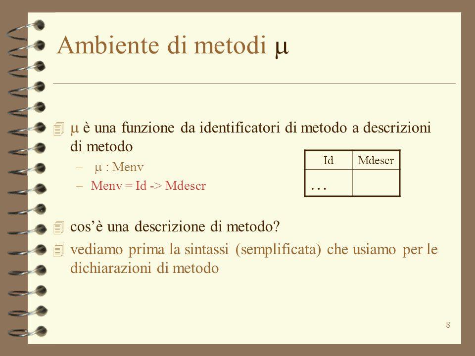 8 Ambiente di metodi    è una funzione da identificatori di metodo a descrizioni di metodo –  : Menv –Menv = Id -> Mdescr 4 cos'è una descrizion
