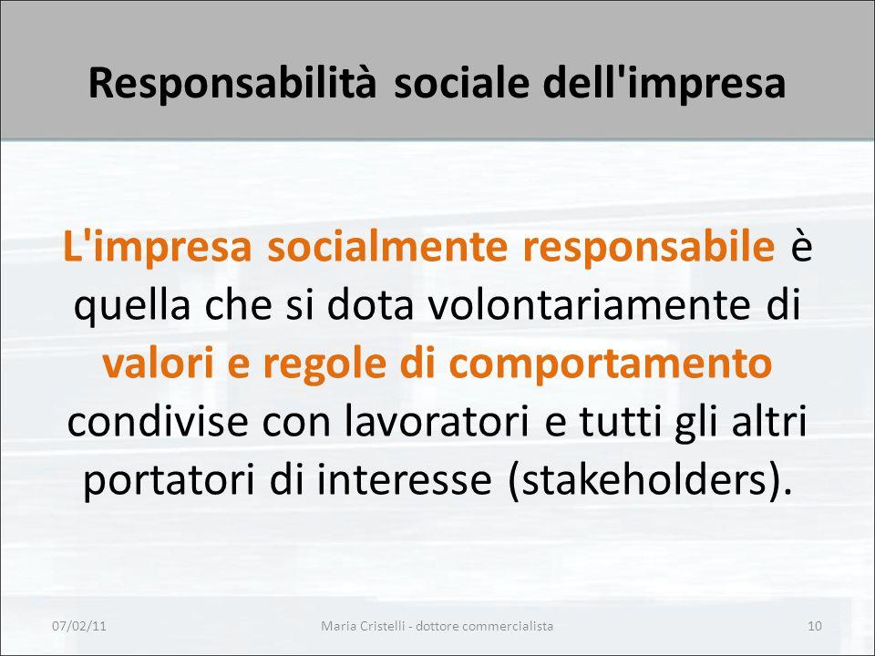 Responsabilità sociale dell impresa L impresa socialmente responsabile è quella che si dota volontariamente di valori e regole di comportamento condivise con lavoratori e tutti gli altri portatori di interesse (stakeholders).