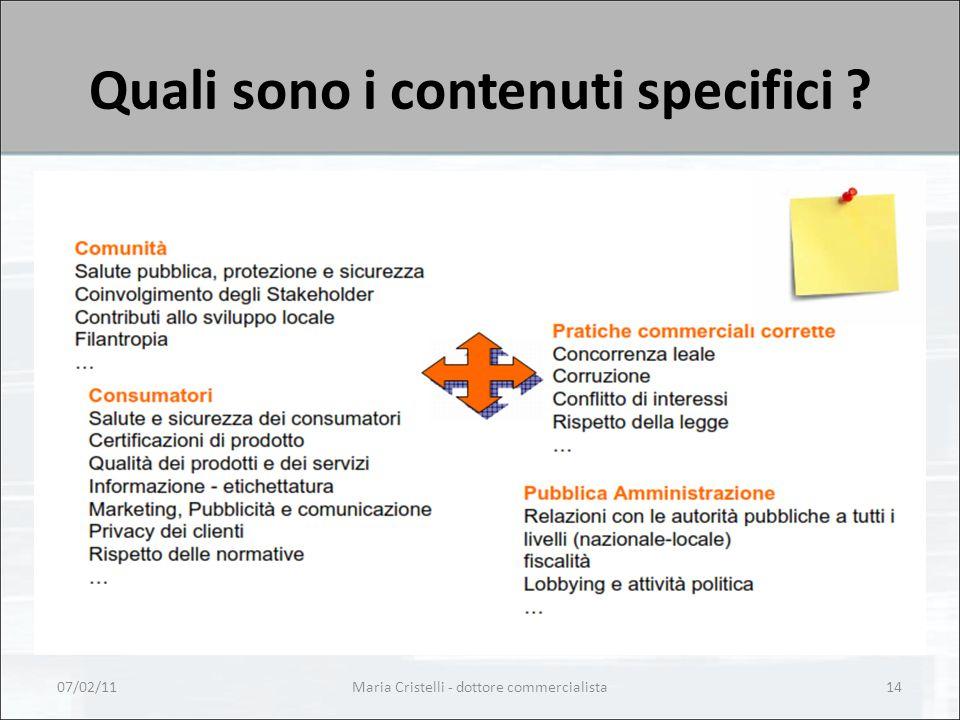 Quali sono i contenuti specifici ? 07/02/11Maria Cristelli - dottore commercialista14