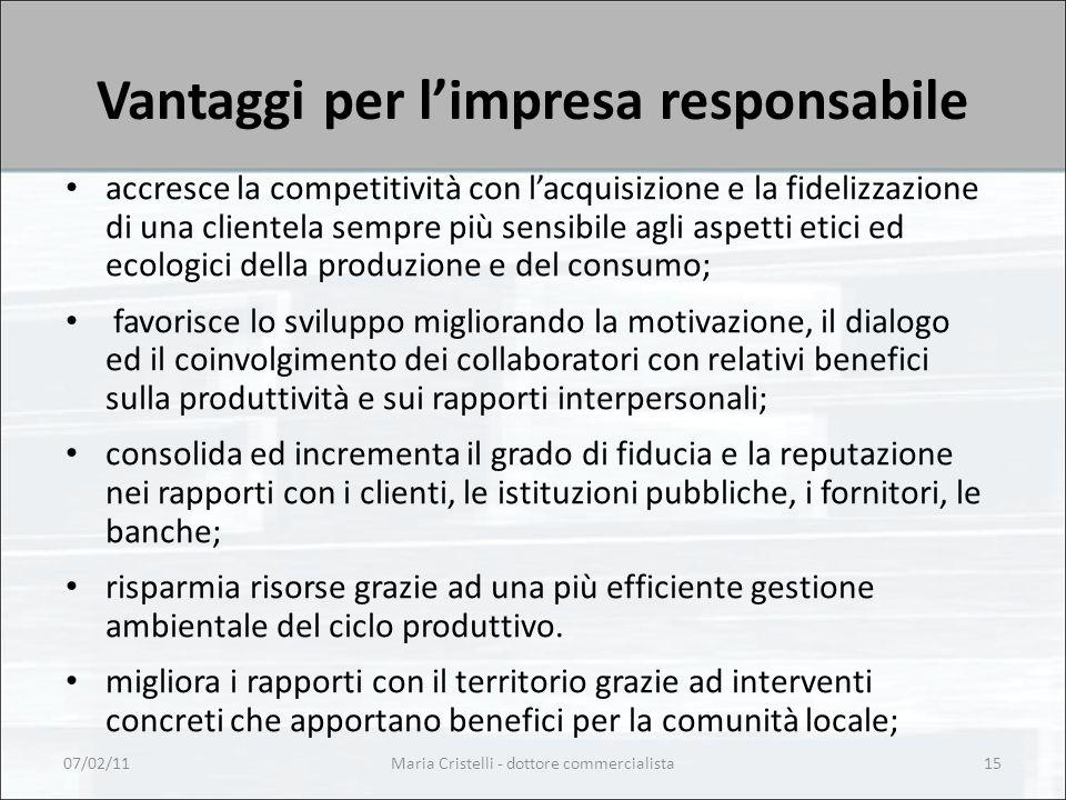 Maria Cristelli - dottore commercialista15 Vantaggi per l'impresa responsabile accresce la competitività con l'acquisizione e la fidelizzazione di una