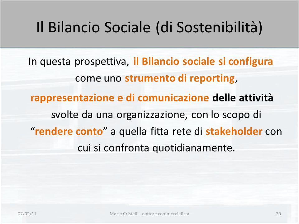 Maria Cristelli - dottore commercialista20 Il Bilancio Sociale (di Sostenibilità) In questa prospettiva, il Bilancio sociale si configura come uno st