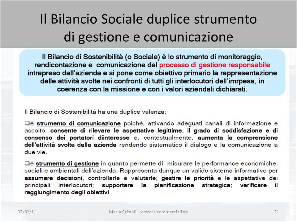 Il Bilancio Sociale duplice strumento di gestione e comunicazione 07/02/1121Maria Cristelli - dottore commercialista