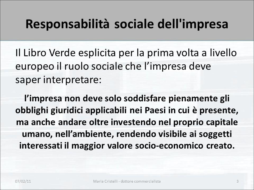 Responsabilità sociale dell'impresa Il Libro Verde esplicita per la prima volta a livello europeo il ruolo sociale che l'impresa deve saper interpreta