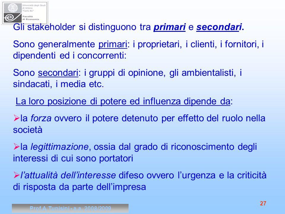 Prof.A.Tunisini - a.a. 2008/2009 27 Gli stakeholder si distinguono tra primari e secondari.