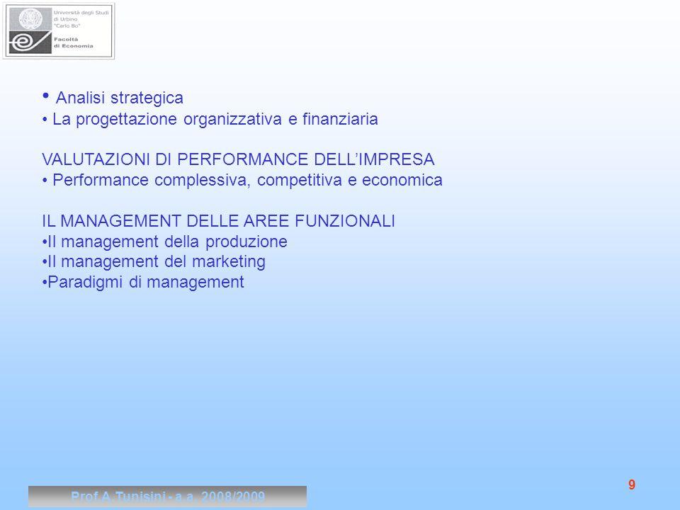 Prof.A.Tunisini - a.a.2008/2009 10 Testi per gli studenti frequentanti Gandolfi V.