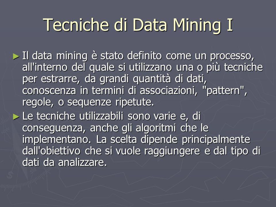 Tecniche di Data Mining I ► Il data mining è stato definito come un processo, all'interno del quale si utilizzano una o più tecniche per estrarre, da