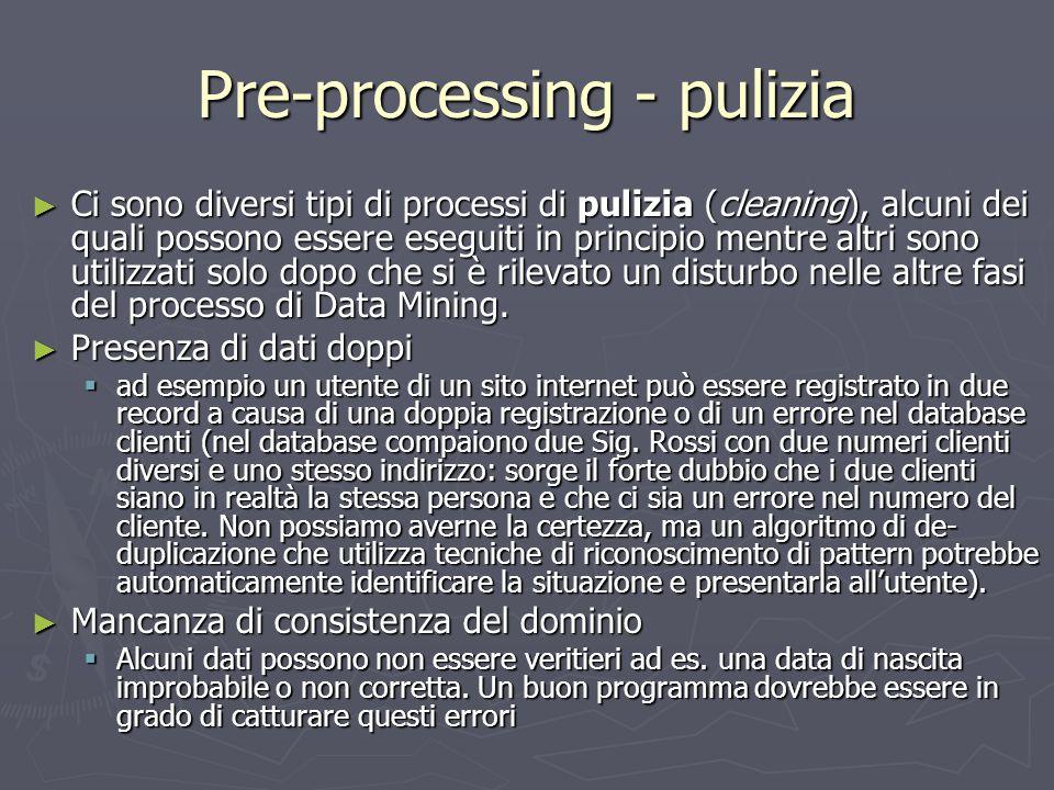 Pre-processing - pulizia ► Ci sono diversi tipi di processi di pulizia (cleaning), alcuni dei quali possono essere eseguiti in principio mentre altri