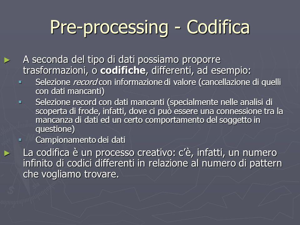 Pre-processing - Codifica ► A seconda del tipo di dati possiamo proporre trasformazioni, o codifiche, differenti, ad esempio:  Selezione record con i