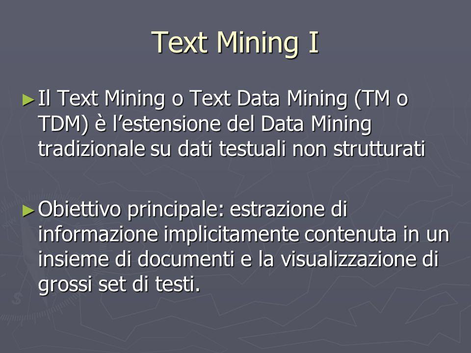 Text Mining I ► Il Text Mining o Text Data Mining (TM o TDM) è l'estensione del Data Mining tradizionale su dati testuali non strutturati ► Obiettivo