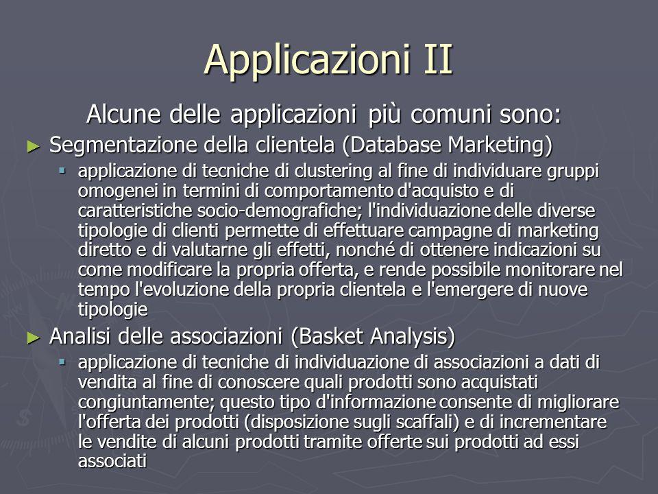 Applicazioni II Alcune delle applicazioni più comuni sono: ► Segmentazione della clientela (Database Marketing)  applicazione di tecniche di clusteri