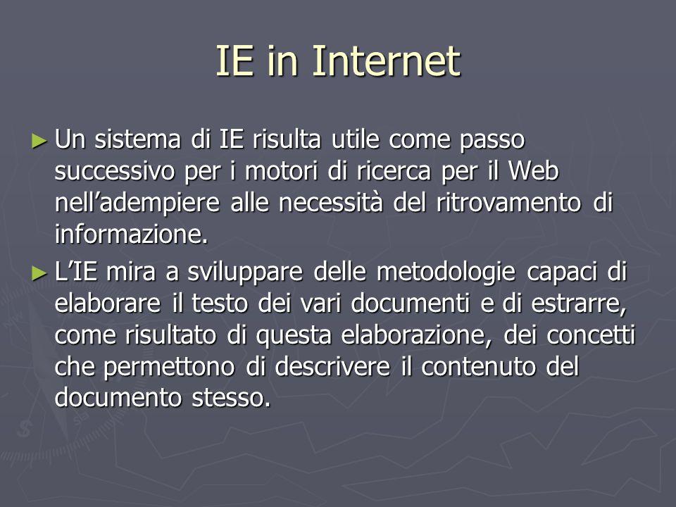 IE in Internet ► Un sistema di IE risulta utile come passo successivo per i motori di ricerca per il Web nell'adempiere alle necessità del ritrovament