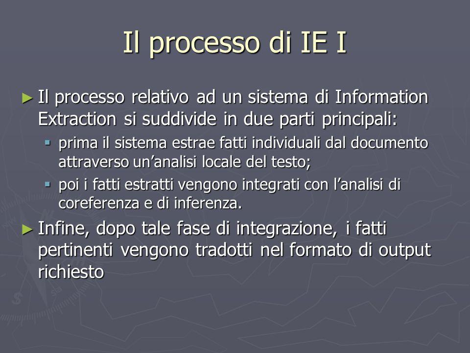 Il processo di IE I ► Il processo relativo ad un sistema di Information Extraction si suddivide in due parti principali:  prima il sistema estrae fat