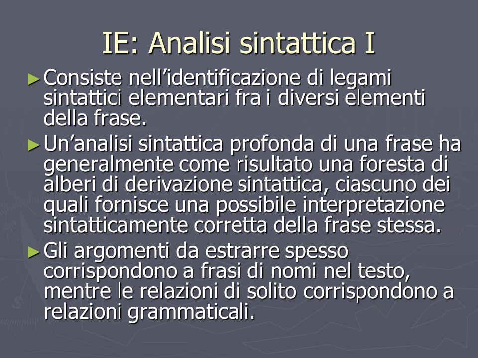 IE: Analisi sintattica I ► Consiste nell'identificazione di legami sintattici elementari fra i diversi elementi della frase. ► Un'analisi sintattica p