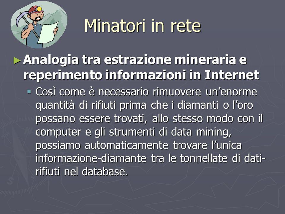 Minatori in rete ► Analogia tra estrazione mineraria e reperimento informazioni in Internet  Così come è necessario rimuovere un'enorme quantità di r