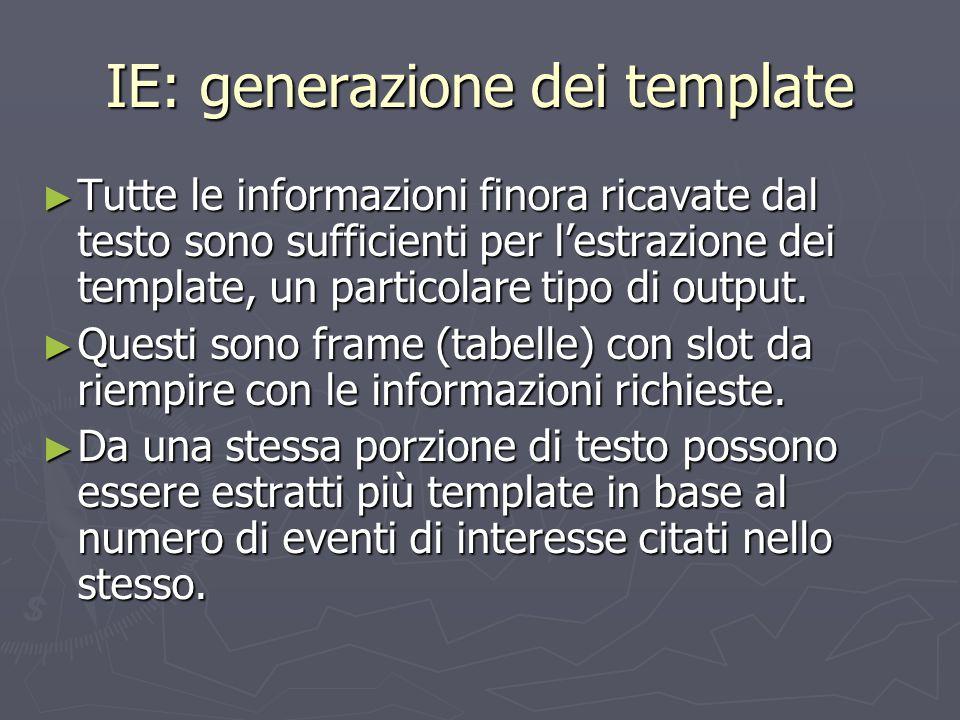 IE: generazione dei template ► Tutte le informazioni finora ricavate dal testo sono sufficienti per l'estrazione dei template, un particolare tipo di